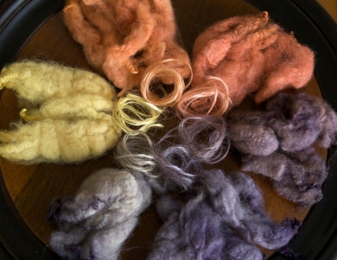 Cormo fleece and handspun Lincoln Longwool fleece